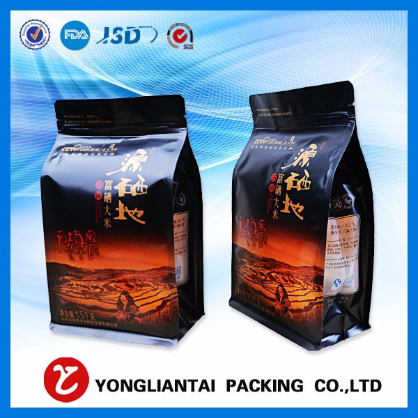 pastas plastic flat bottom bag,flexible food packaging, quad sealed pouch with printing