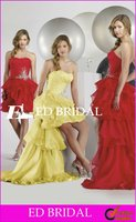 A-Line/Princess Strapless Organza High Low Hem Prom Dresses