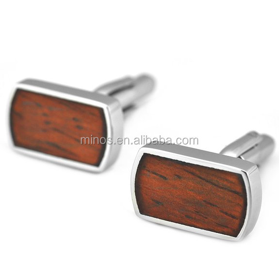 Wholesale Metal Cufflinks ,Stainless Steel & Red Wood Inlay Cufflinks for Men