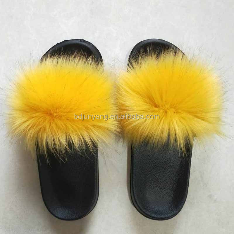Top selling women sandals eva <strong>slide</strong> with imitation fur faux fur pom pom slippers