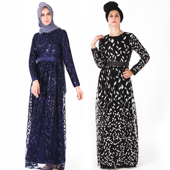 2019 Latest abaya designs turkey new design abaya of jeddah navy slim sequins manufacturer