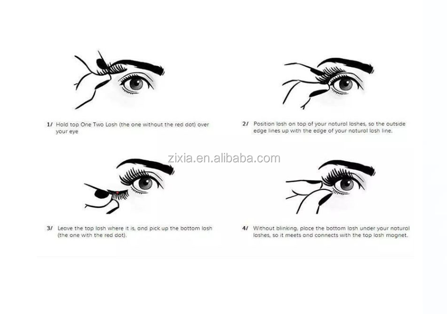 2017 3D Magnetic False Eye lashes 100% Handmade Natural Long Magnet Eyelashes Cross Thick Eyelash Extension