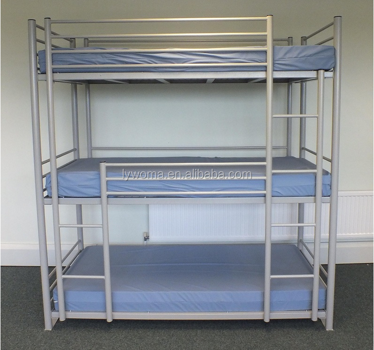 Bedroom Furniture Adult Metal Steel Iron Beds 3 Tier 3 Person Heavy Duty Strong Triple 3 Sleeper