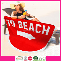 hotsale! cotton velour reactive printed round to beach towels with tassel