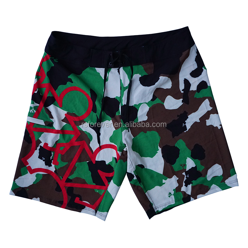 4 Way Stretch Fabric Mens Board Shorts With Camouflage Design Sublimation Printing
