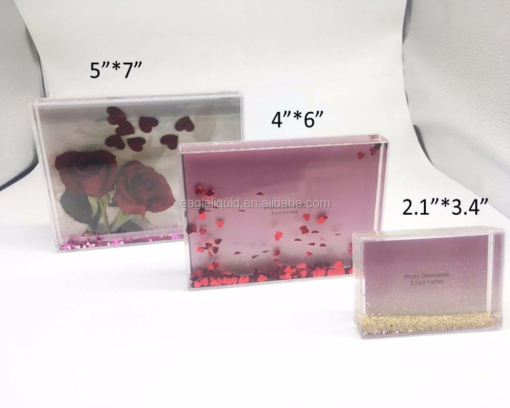 New Acrylic Photo Frame Glass Acrylic Block With Water And Glitter ...