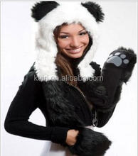 Winter Hat Christmas Gift Wolf Husky Hats Faux Fur Animal Hats With Paws