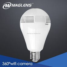 Hidden wifi Camera Light Bulb, Fisheye Lens Ip Security Cctv Camera, Support up to 128GB SD card panoramic camera