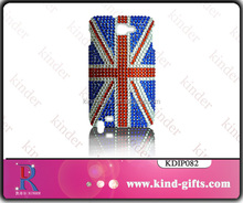 Fancy flag design bling sparkle rhinestone clear cheap 3d cell phone case