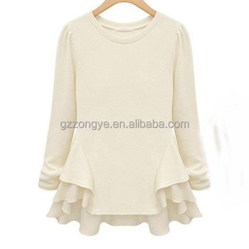 European fashion design casual white chiffon women's shirt