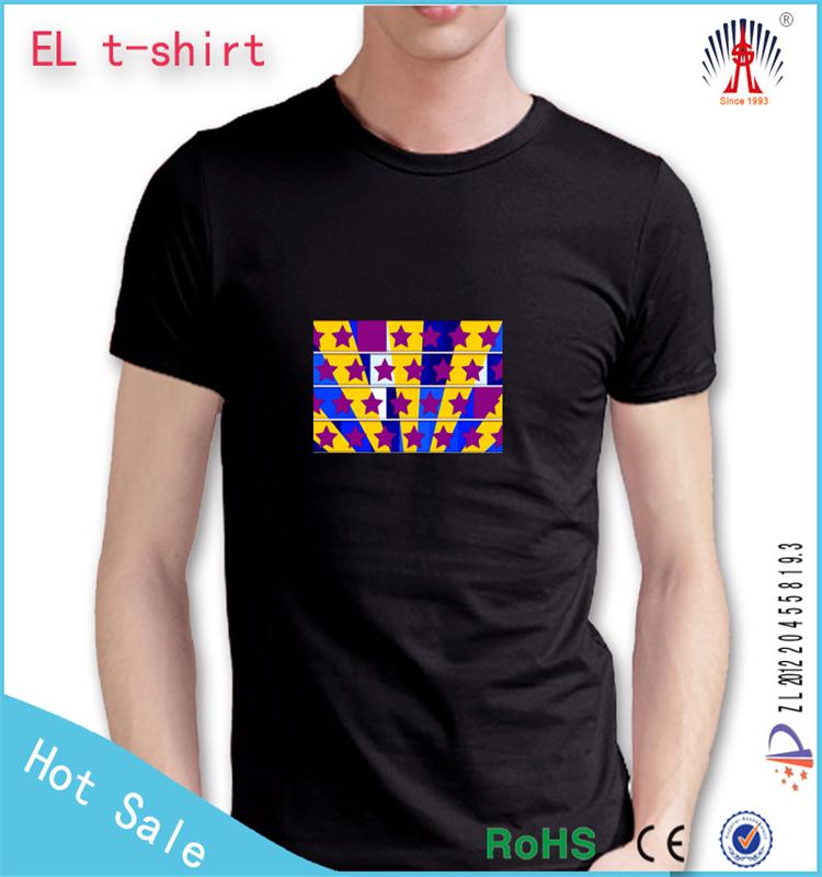 Hot Sell Led Light Up T Shirt Custom Round Neck Led Tshirt