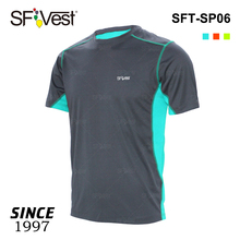 Manufacture breathable dry fit spandex fabric two tone colors fashionable t shirt outdoor clothing OEM service