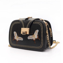 New Women PU Crossbody Bag Rivet Butterfly Embroidery Multi-Pockets Vintage Chain Shoulder Bags White/Black