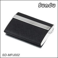 Wholesale stainless iron black leather business card holder card case