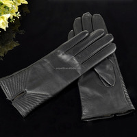 Simple design cuff twill sewing decoration lady goatskin leather gloves women leather gloves GL-EW259