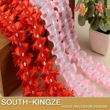 Ruffle Red/Pink Embroidered Lace Trim with Sequin 4cm Width Chiffon Lace Trim Ribbon