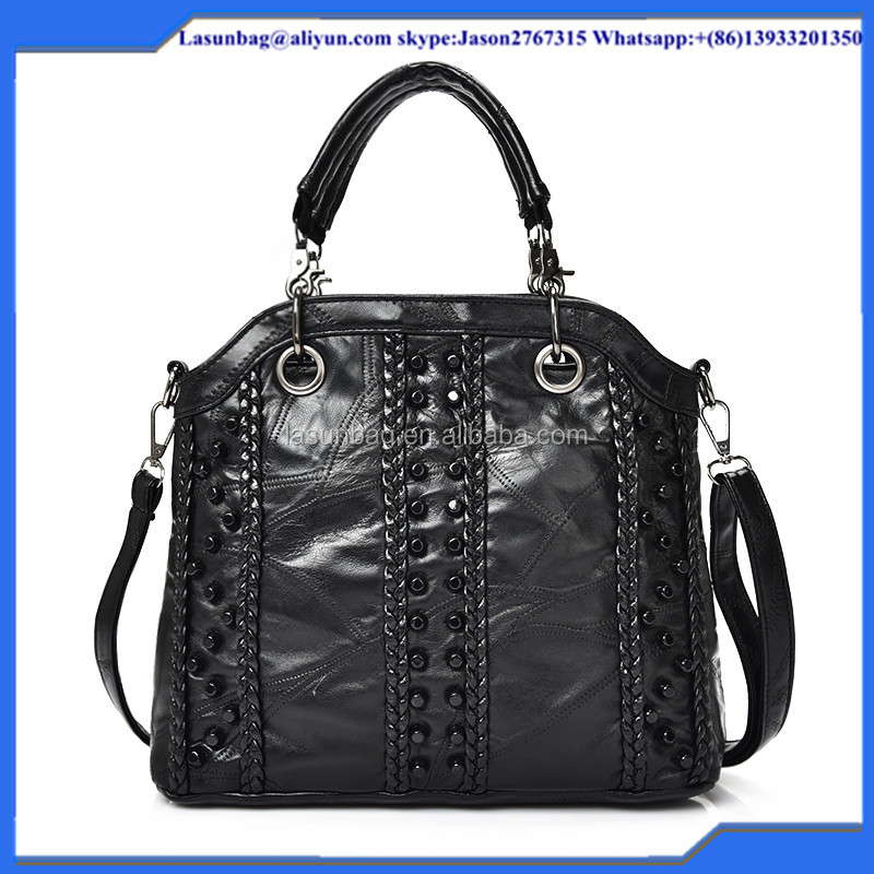 Best Selling Fashion Rivet Designer Wholesale Woman Handbag Stylish PU Leather Lady Black Handbag