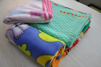 colorful polar fleece blankets with satin hem