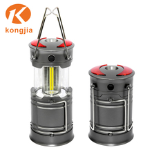 Factory Supply Super Bright camping lamp 3*AA Battery Powered Outdoor portable cob camping lantern magnet with warning light