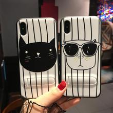 Black White Cat Couple Design 6 6s 7 8 Plus Mobile Phone Invisibility Stand PC TPU Cover for iPhone Case X