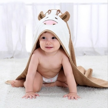 Eco-Friendly hooded baby towel cartoon deisign of baby hooded towel