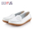 Cheap wholesale oem genuine leather white casual flat shoes