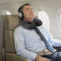 push-button airplane inflatable neck pillow travel pack with drawstring bag