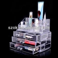 modern fashional pure acrylic makeup organizer/acrylic cosmetic organizer with drawer