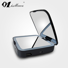 Portable led lighted touch sensor compact mirror with power bank