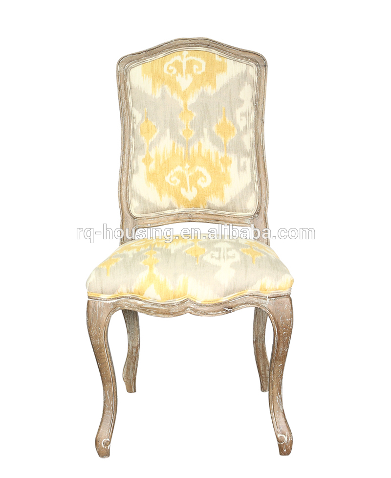 Antique French Fabric Dining Room Chair Armless Wooden
