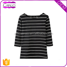Wholesaler 180g 95% Cotton 5% Polyester Stripe 3/4 Sleeve T Shirt Woman