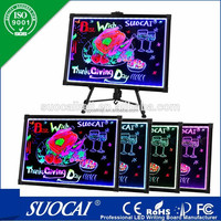 New Advertising Products Eye-Catching Rewritable Christmas Refined Tempered Glass Restaurant LED Write Board