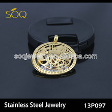 13P097 Europe Style Fashion Angles Hollow Charm Gold Plated Stainless Steel Pendant