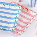 "Candy Stripes party tableware Blue Pink Stripe 9"" Party Plates"