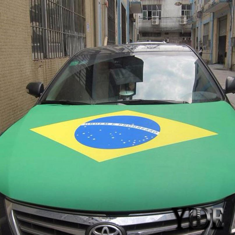 2018 New Custom Print Elastic Brazil And Other Countries National Flag Car Engine hood cover, Promotion Car Flag