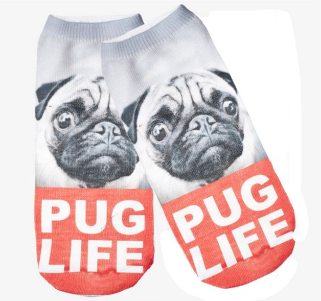 dog design good quality stock 3D digital print women ankle socks wholesale
