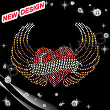 wholesale rhinestone transfer hot fix motif heart with bow