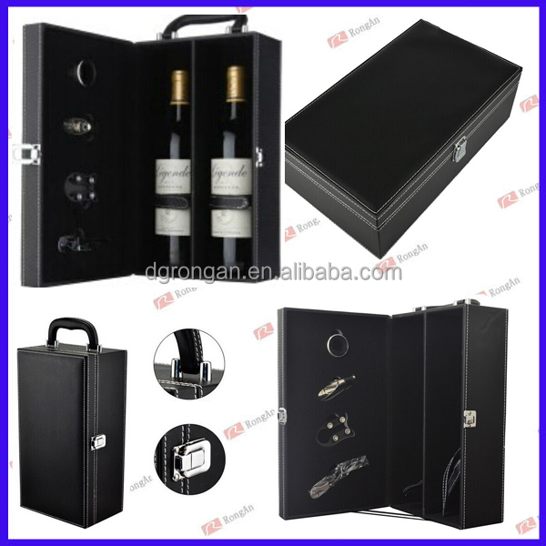 2015 wholesale gift itmes black leather double wine cardboard packing carrier D06-1000