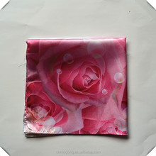 100%cotton Fancy beauty Rose pattern customized hanky scarves and shawls