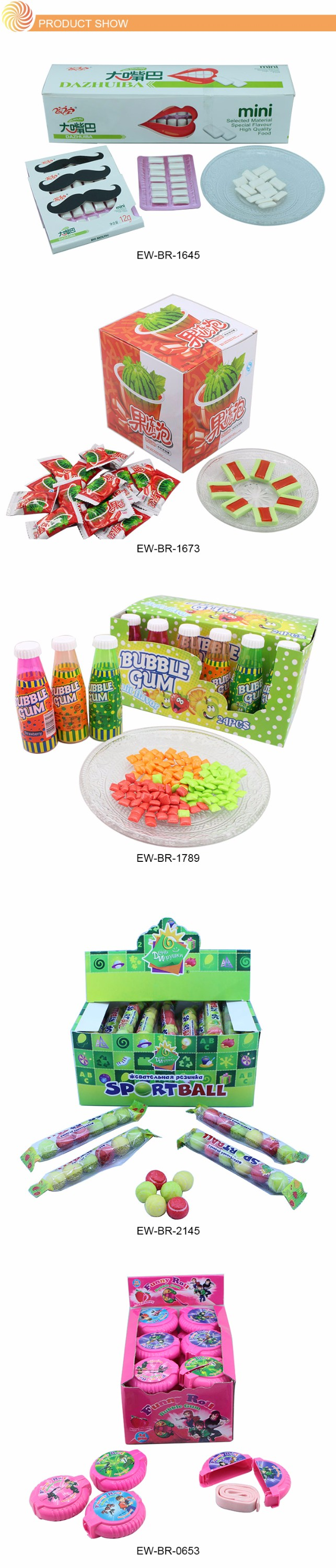 Customize Fruit Flavor Tennis Ball Bubble Gum