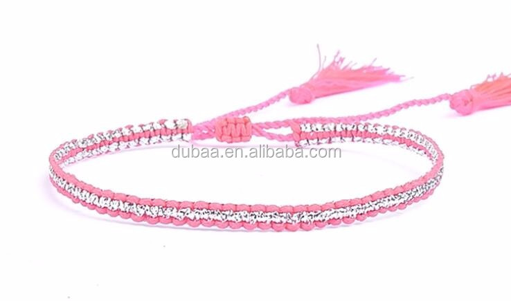 Woven Braided Seed Small Bead Single Wrap Friendship Bracelet with Tiny Tassel Fashion Handmade Beaded Bracelet Jewelry