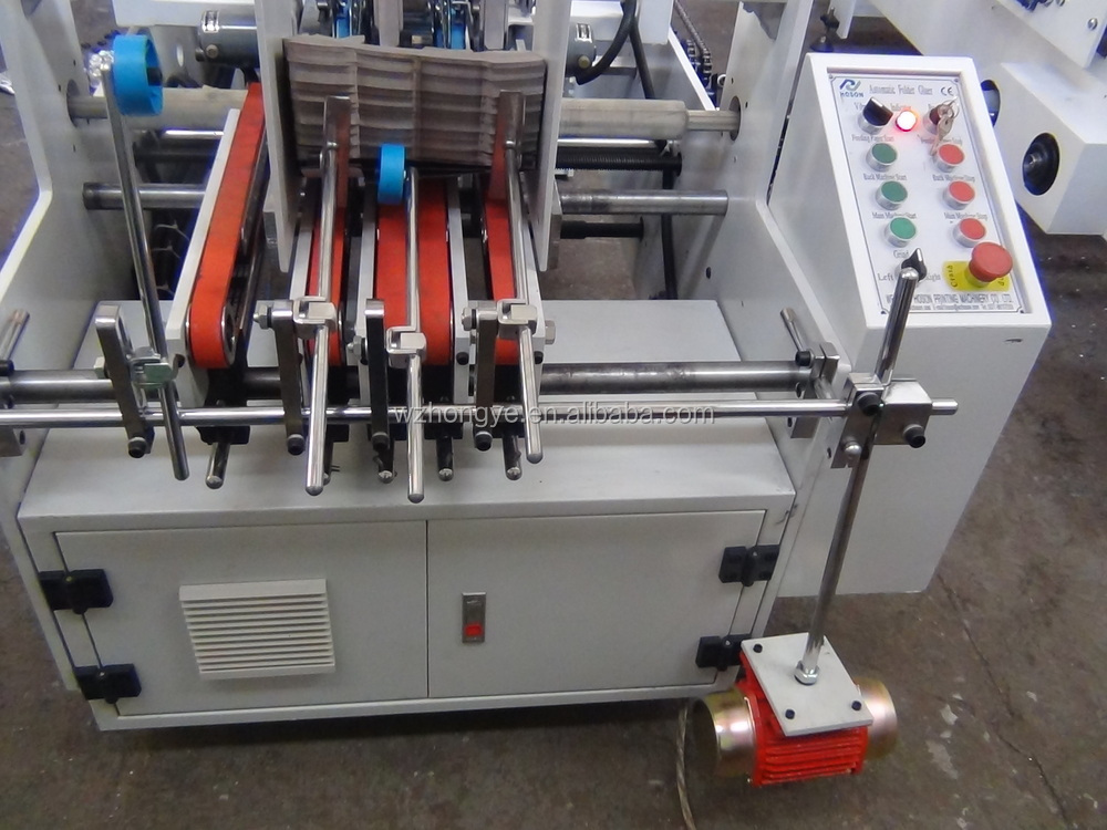 ZH-880BFT Cardboard Box Folding Gluing Machine / 3 Points Crash Lock Bottom Type