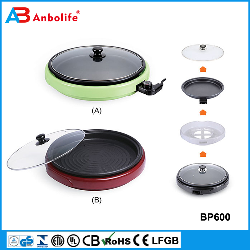 16-Inch Foldaway Ceramic Family Sized Electric Skillet with Glass Cover Copper Titanium Coating 1200 Watts frying pan