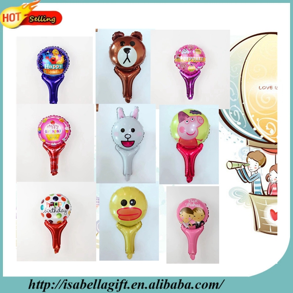 Wholesale cartoon animal series brown bear hand stick balloon for birthday
