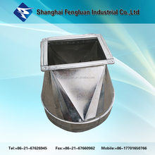 High quality Square to Round Transition Galvanized Steel Pipe Fitting