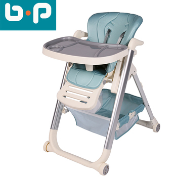 Deluxe one-key folding baby high chair with wheels