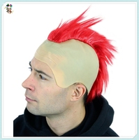 Punk Red Iro Bald Mohawk Irokese Synthetic Halloween Wigs HPC-1260