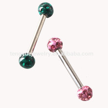 Crystal Ball magnetic vibrating tongue ring eyebrow piercing jewelry