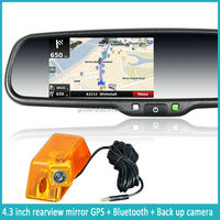 4.3 inch TFT monitor car rearview mirror with bluetooth, built-in GPS