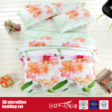 Printing Polyester Linen Big Flower Microfiber 3D Bed Sheet